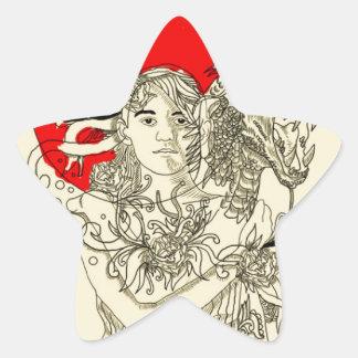 señora del dragón pegatina en forma de estrella
