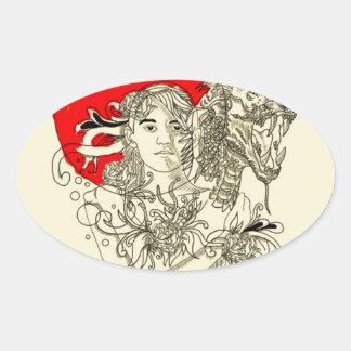 señora del dragón pegatina ovalada
