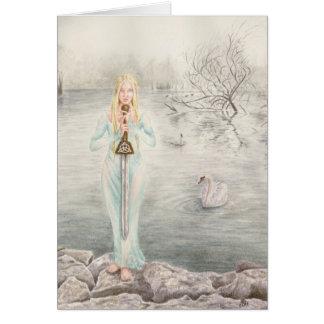 Señora del lago por el arte de Deanna Bach Tarjeta