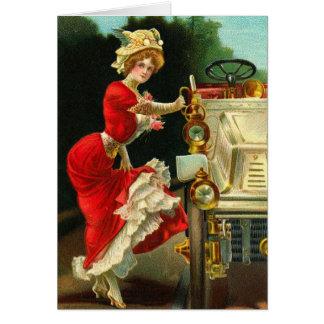 Señora del Victorian y su automóvil Tarjeta