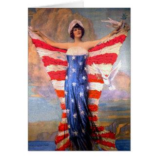 Señora del vintage de la bandera americana tarjeta de felicitación