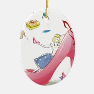 Señora del zapato del gatito adorno ovalado de cerámica