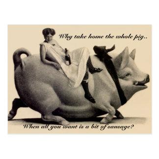 Señora divertida de la postal del vintage que