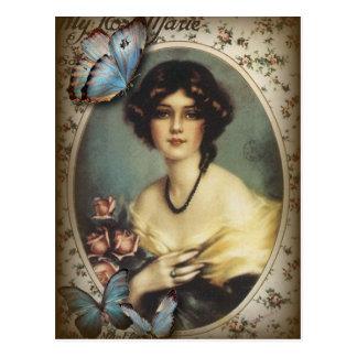 Señora elegante Fashion de París de la mariposa Postal