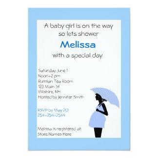 Señora embarazada Blue e invitación de la ducha Invitación 12,7 X 17,8 Cm