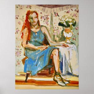 Señora en el azul, aceite en la pintura de la póster