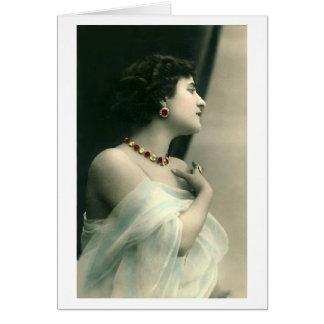 Señora en joyas tarjeton