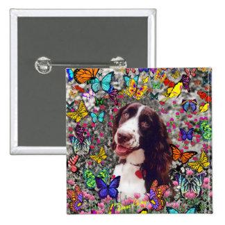 Señora en mariposas - perro del perro de aguas de chapa cuadrada 5 cm