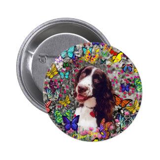Señora en mariposas - perro del perro de aguas de chapa redonda 5 cm
