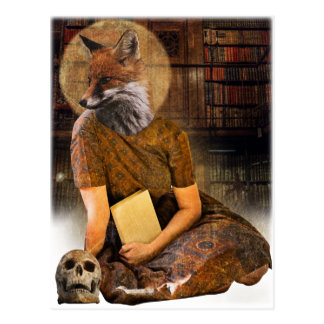 Señora Face Animal del Fox del vintage Postal