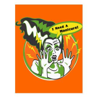 Señora Frankenstein Needs una manicura Postal
