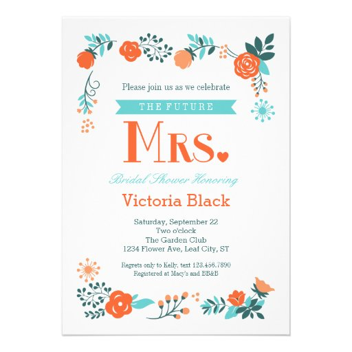 Señora futura Floral Bridal Shower Invitation Invitacion Personalizada