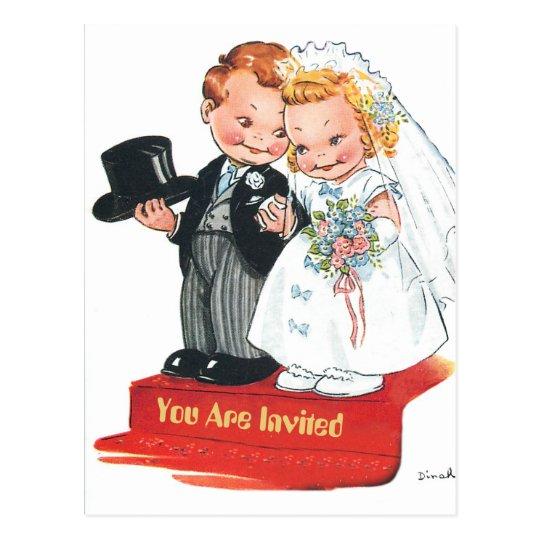 Señora futura y Sr. del dibujo animado cómico de Postal