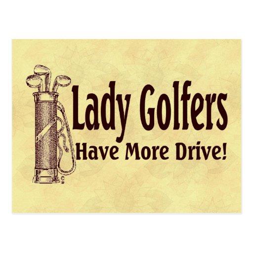Señora Golfers Tarjeta Postal