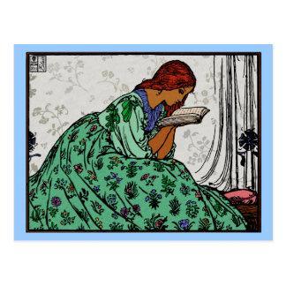 Señora In del Redhead una lectura verde del Postal