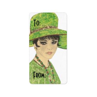 Señora In Green Gift Tag Etiquetas De Dirección