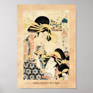 Señora japonesa fresca del geisha del ukiyo-e dos póster