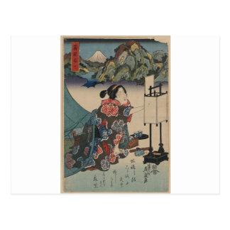 Señora japonesa Mountain Scene de Ukiyo-e del Postal