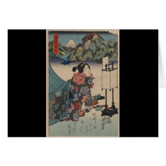 Señora japonesa Mountain Scene de Ukiyo-e del Tarjeta De Felicitación