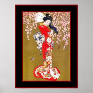 Señora japonesa Vintage Poster del geisha del arte
