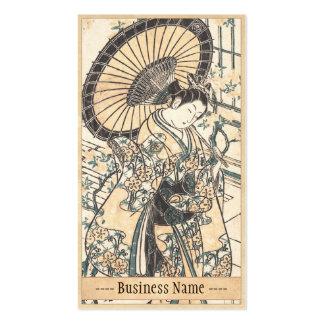 Señora joven de Ishikawa Toyonobu con el parasol Tarjetas De Visita