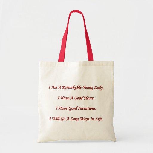 Señora joven notable bolsas de mano