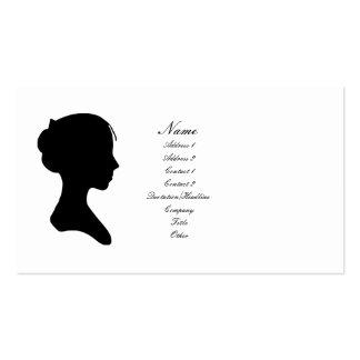 Señora joven silueta (versión 2) tarjetas de visita