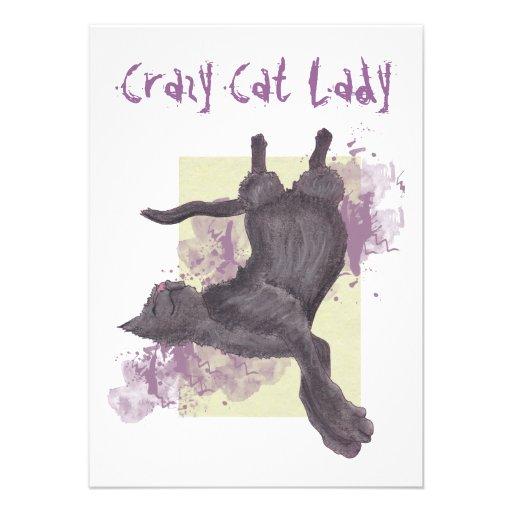 Señora loca Birthday Invites del gato Invitación