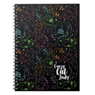 Señora loca Colorful Cartoon Pattern Gift del gato Libretas