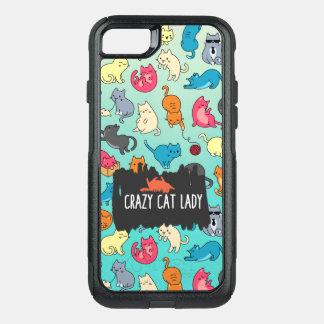 Señora loca Cute y modelo juguetón del gato del Funda Commuter De OtterBox Para iPhone 8/7