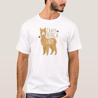 Señora loca de la alpaca camiseta