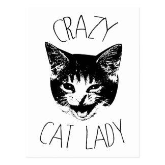 Señora loca del gato, cara divertida del gatito postal