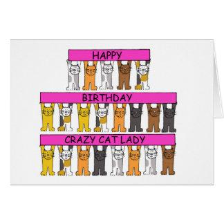 Señora loca del gato del feliz cumpleaños tarjetón
