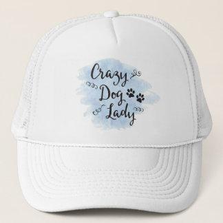 Señora loca del perro (azul clara) gorra de camionero