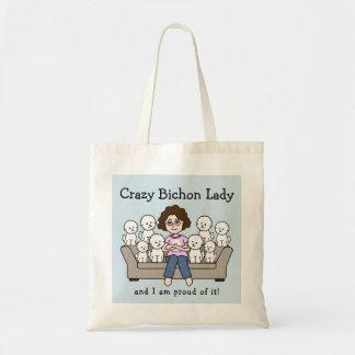 Señora loca la bolsa de asas de Bichon Frise