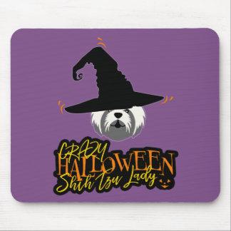 Señora loca Shih Tzu Mom de Halloween Shih Tzu Alfombrilla De Ratón