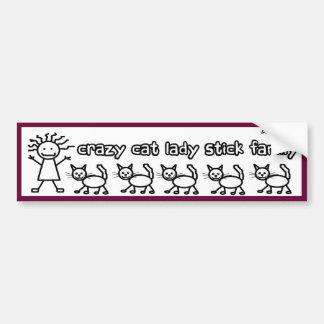 Señora loca Stick Family Funny Cartoon del gato Pegatina De Parachoque
