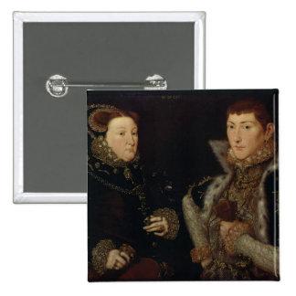 Señora Maria Nevill y su hijo Gregory Fiennes Chapa Cuadrada 5 Cm