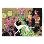 Señora medieval de Deco con criados y un Borzoi Tarjeta De Felicitación