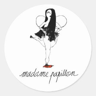 Señora Papillon Sticker 2 Pegatina Redonda