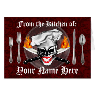 Señora personalizada Chef Skull Recipe Card Tarjetón