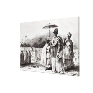 Señora que lleva al niño al bautismo lienzo envuelto para galerias