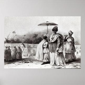Señora que lleva al niño al bautismo póster