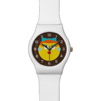 Señora retra del lápiz labial de Emoji Reloj De Pulsera