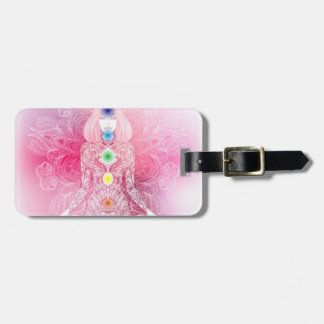 Señora rosada de siete Chakras Etiquetas Para Maletas
