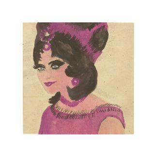 Señora rosada impresión en madera