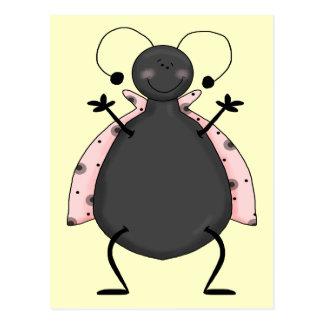 Señora rosada insecto III Postal