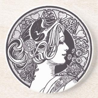Señora Sandstone Drink Coaster del vintage Posavasos De Arenisca