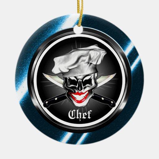 Señora Skull Ornament del cocinero Ornamentos De Navidad