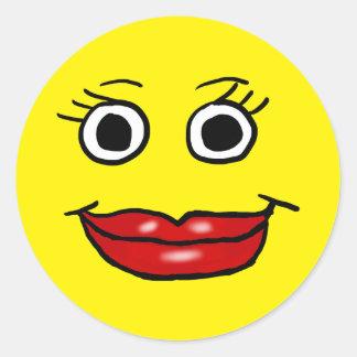 Señora Smiley Pegatina Redonda